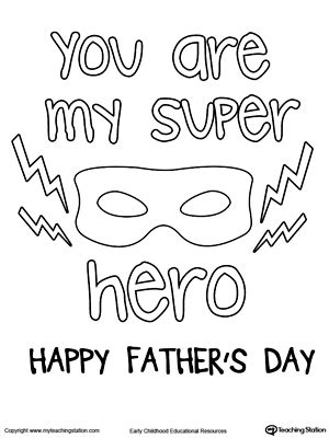superhero dad coloring page father s day printable activities myteachingstation com