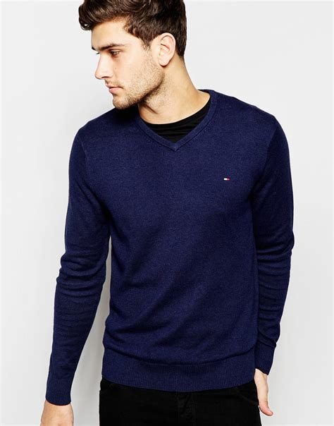 Hilfiger Crewneck lyst hilfiger sweater with v neck in blue for