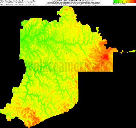 kentucky elevation map free pike county kentucky topo maps elevations