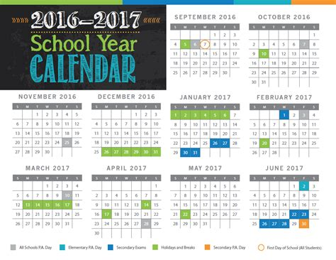 Capital Academic Calendar 2016 2017 School Year Calendar