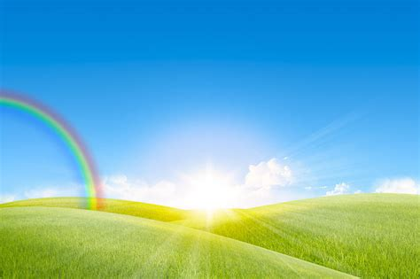 Suny Day grassland in the day with rainbow photograph by