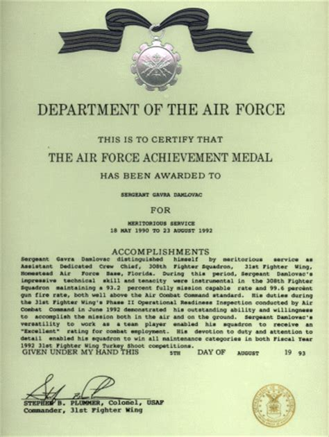 air force commendation medal template image collections