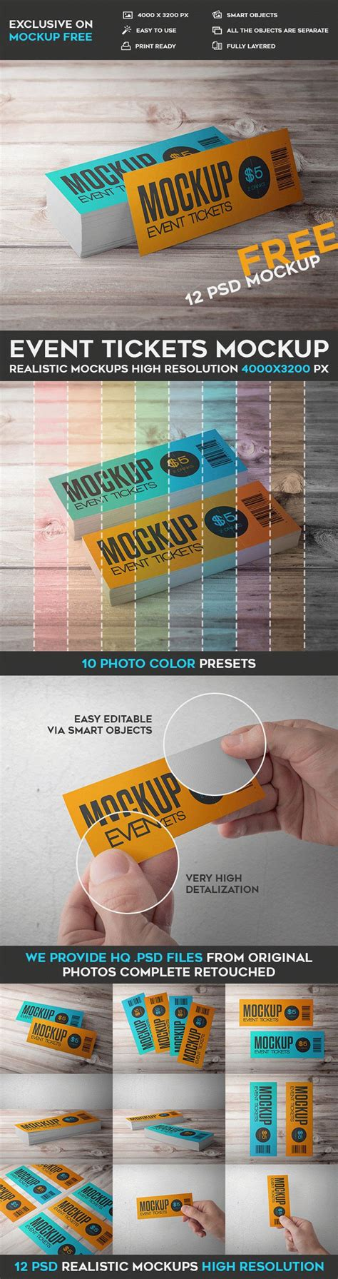 Event Tickets 12 Free Psd Mockups Free Psd Templates Event Ticket Template Psd Free