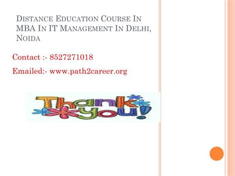 Distance Learning Mba Courses From Delhi by Ppt Distance Education Course In Mba In It Management In