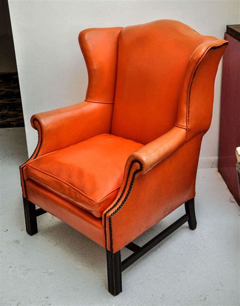 vintage wingback chair vintage orange leather wing chair at 1stdibs