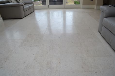 Dull Tile Floor by Dull Limestone Tiles Brought Back To With Burnishing