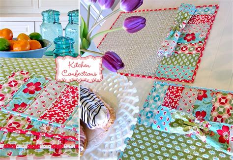 Patchwork Placemats - kitchen confections in moda s vintage modern patchwork