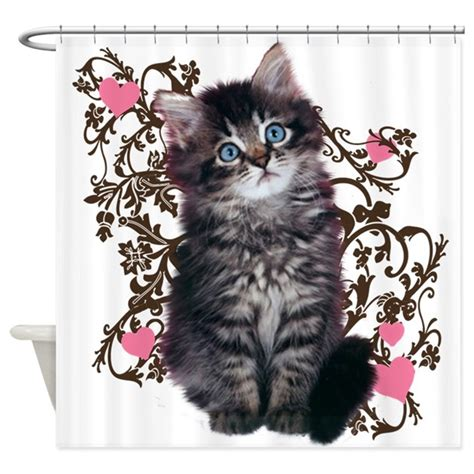 kitty shower curtain cute kitten kitty cat lover shower curtain by theloveofcats