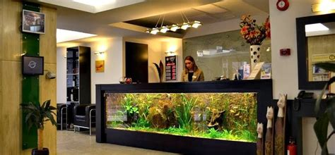 Fish Tank Reception Desk The Aquarium Reception Desk At The Entrance Of The Hotel Looks Cool Romania Hotels