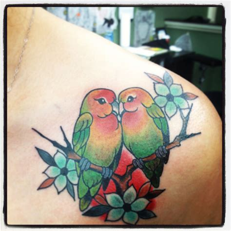 my new tattoo lovebirds feminine tattoo s pinterest