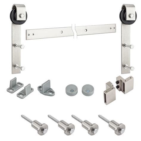 Shop Stanley National Hardware 72 In Satin Nickel Steel National Sliding Barn Door Hardware