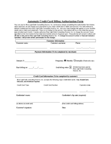 Automatic Credit Card Payment Authorization Form Template by Automatic Credit Card Billing Authorization Form Fill