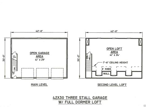 3 Car Garage Plans With Loft by 42x30 3 Car Garage Drmd Loft Building Blueprint Plans