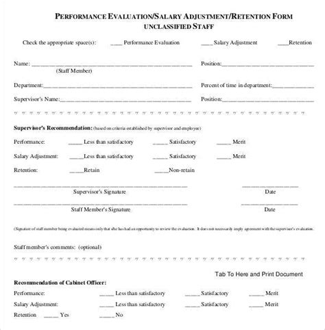 salary review form template employee evaluation form 41 free documents in pdf