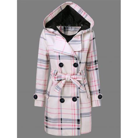 Plaid Hooded Woolen Coat tie belt hooded plaid woolen coat twinkledeals