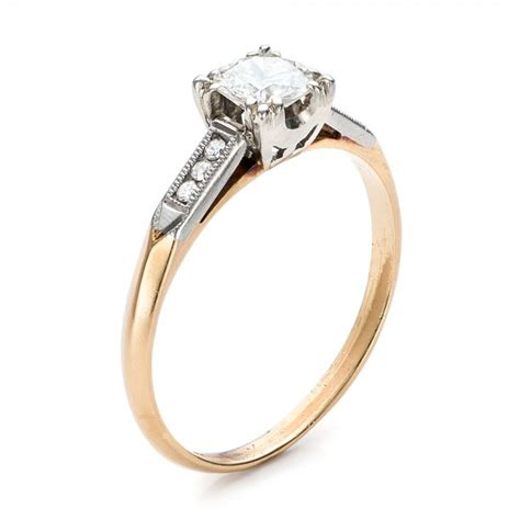 Two Tone Gold Engagement Rings - estate two tone gold engagement ring 100901