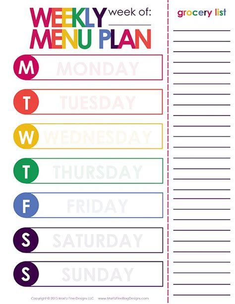 easy printable meal planner weekly menu plan printable the o jays do you and night