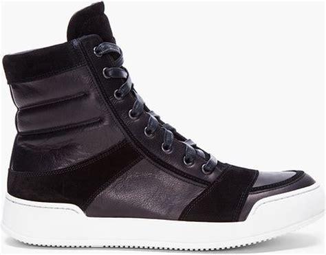 balmain mens sneakers balmain black suede zip sneakers in black for lyst
