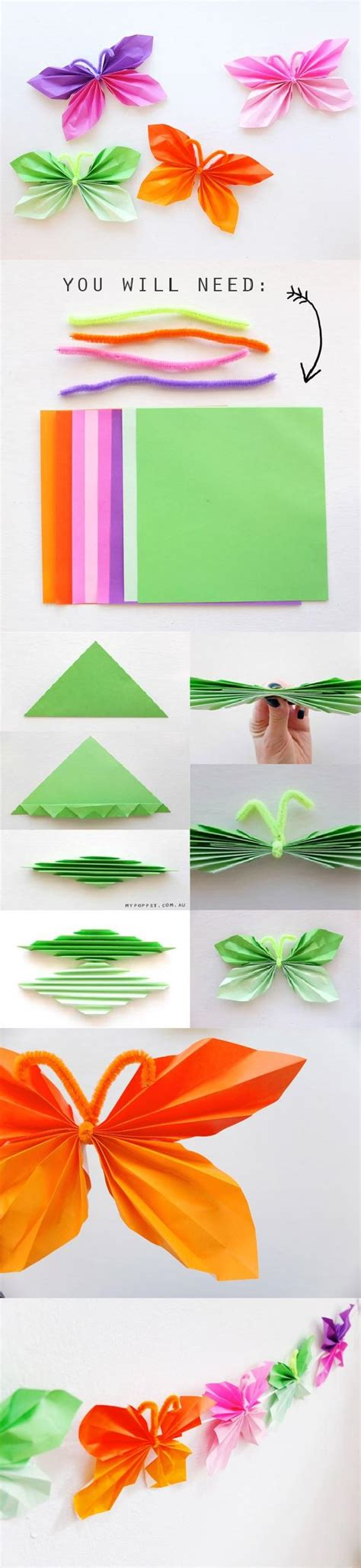 How To Make Paper Butterflies - easy folded diy paper butterfly beesdiy