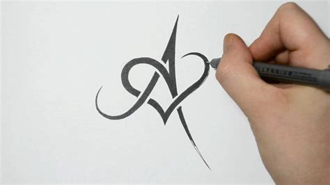 heart letter tattoo designs drawing letter a and combined tribal design