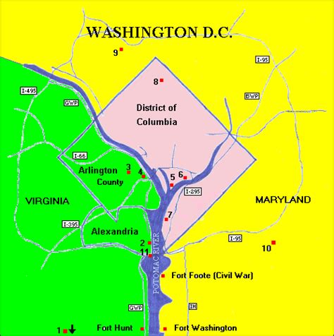 washington dc rivers map potomac river defenses for washington d c