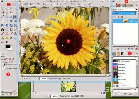 imagenes vectoriales con gimp 2 ventanas principales