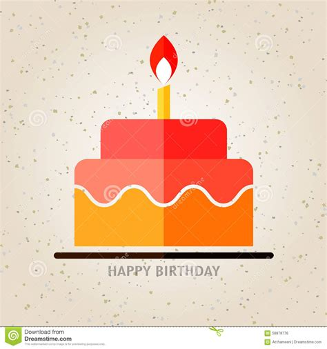 happy birthday flat design happy birthday birthday cake with candle flat icon
