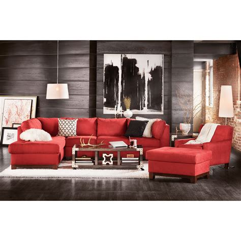 french living room with two piece chaise lounge french soho 2 piece sectional with left facing chaise red