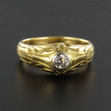 antique engraved s gold signet ring at 1stdibs