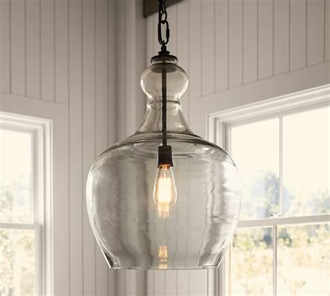 pottery barn hanging lights flynn recycled glass pendant pottery barn