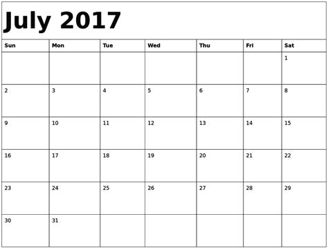 printable calendar 2017 july print july 2017 calendar calendar template letter format