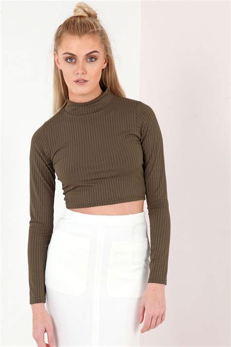 Turtle Neck Ribbed Top by Sleeve Turtle Neck Ribbed Crop Top Khaki