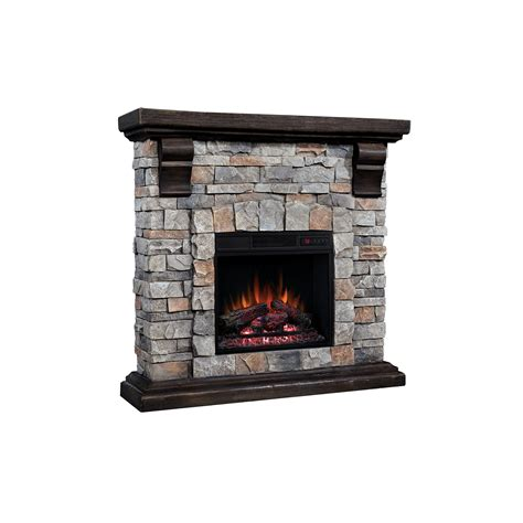 40 Quot Pioneer Brushed Dark Pine Stone Electric Fireplace Rock Electric Fireplace