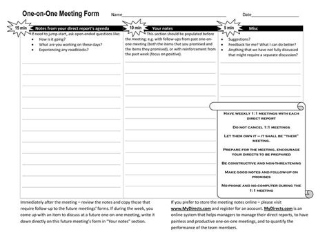 One On One Meeting Agenda Template Business Management Pinterest Templates Employee 1 On 1 Template