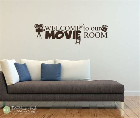 home theatre wall decor welcome to our movie room vinyl lettering movie room decor
