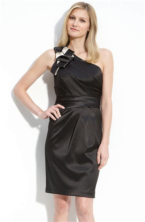 Dress Sabrina Cleo Black max cleo origami detail one shoulder satin dress in black black combo lyst