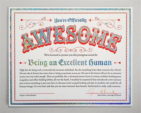 certificate of awesome by jessica hische ha magic