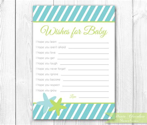 wishes for baby shower card printable baby wishes card the sea by