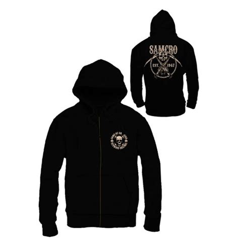 Hoodie Zipper Anarchy Zemba Clothing sons of anarchy zipped hooded sweater samcro chained for