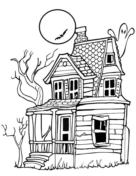 Printable Haunted House Coloring Pages teaching frenzy haunted houses