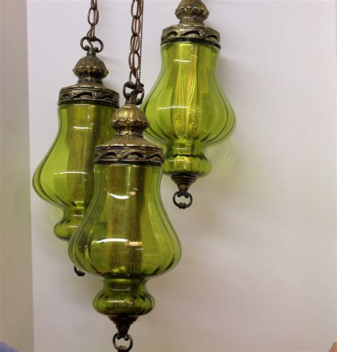 Vintage 3 Triple Globe Swag Light L Moss Green By Swag Lights