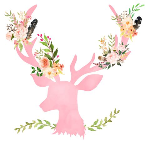 Animal Wall Murals pink floral deer fabric shopcabin spoonflower
