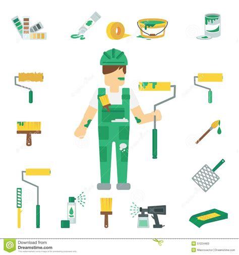working tools flat icon set stock vector image 40282698 house painter flat set stock vector image 51224463