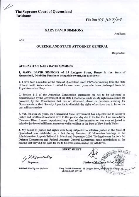 court affidavit template it will pass gary simmon s affidavit supreme court of