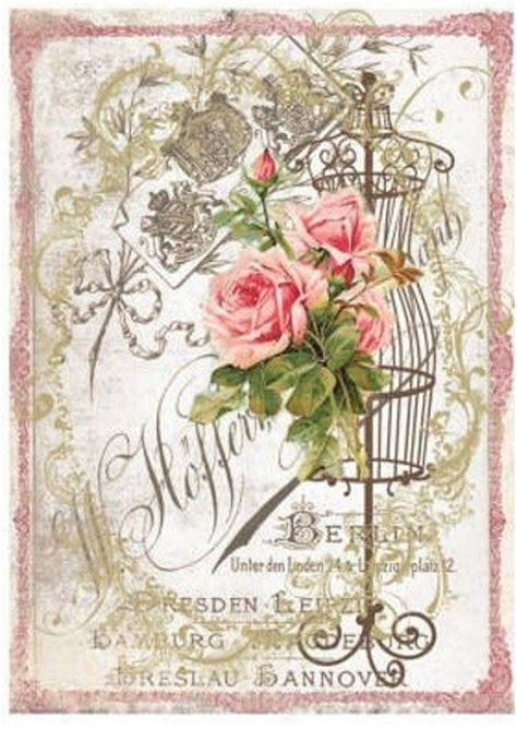 Vintage Decoupage - flower picasa and decoupage paper on