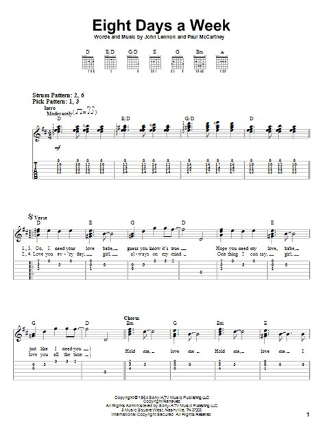 week song eight days a week sheet by the beatles easy guitar