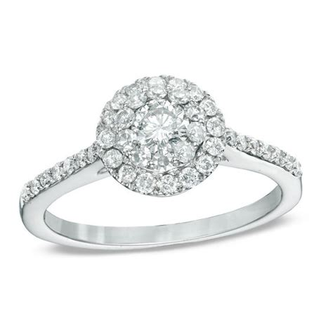 3 4 ct t w frame engagement ring in 14k