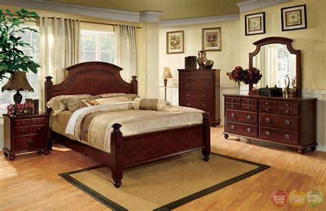 Antique Cherry Bedroom Furniture Gabrielle Ii European Cherry Bedroom Set With Antique Gold Knobs Cm7083