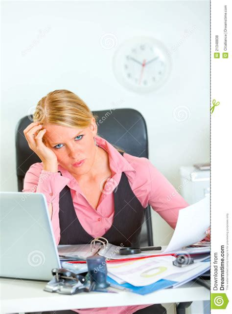 stressed business woman at work royalty free stock photos