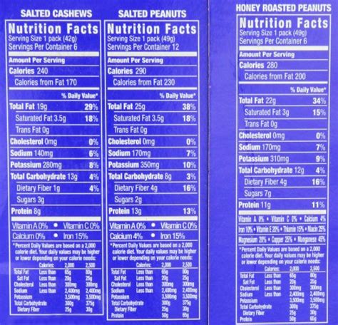 Planters Peanuts Nutrition Facts planters nut 24 count variety pack 2 lb 8 5 ounce desertcart
